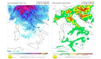 Precipitazioni previste e rischio grandine per le giornate del weekend