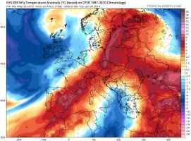 Anticiclone in estensione sull'Europa