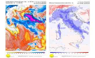 Venti previsti e calo termico per lunedì 24 settembre 2018