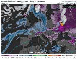 La situazione della neve sul continente europeo